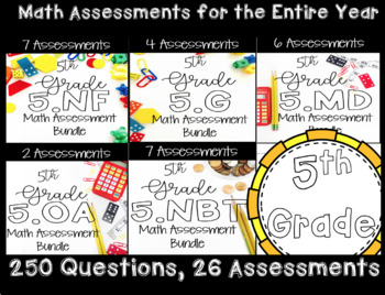 ** 5th Grade Math Common Core Standard Based Assessments,