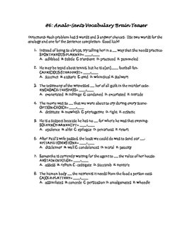 #6: Analo-Sents Vocabulary Brain Teaser!