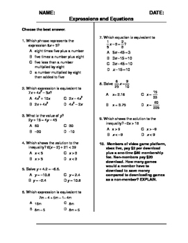 (7th Grade) Expressions and Equations QUIZ