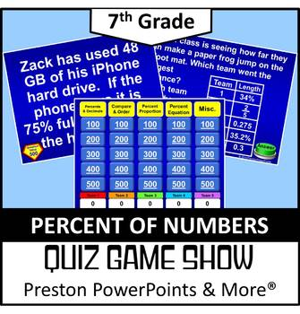 (7th) Quiz Show Game Percent of Numbers in a PowerPoint Pr
