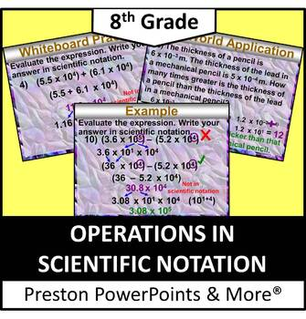 (8th) Operations in Scientific Notation in a PowerPoint Pr