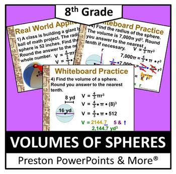 (8th) Volume of Spheres in a PowerPoint Presentation