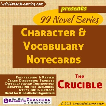 {99 Novel} The Crucible by Arthur Miller Character & Vocab