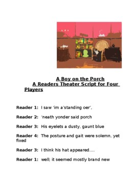 """""""A Boy on the Porch"""" Tribute to Lewis Hine, A Rdrs Th Script"""