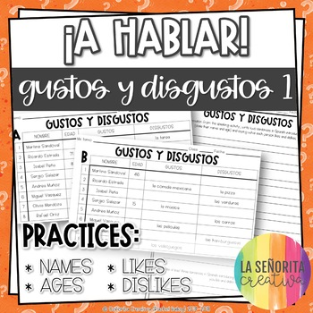 ¡A Hablar! Interpersonal Speaking Activity – Likes and Dis