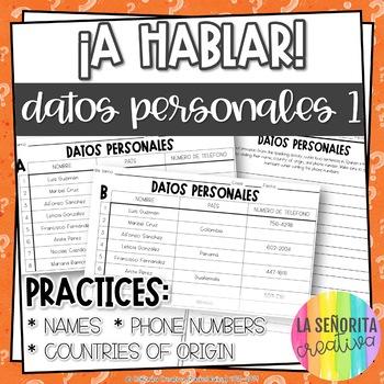 ¡A Hablar! Interpersonal Speaking Activity – Personal Info