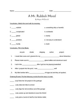 """""""A Mr. Rubbish Mood"""" QUIZ (Journeys Grade 3 Reader)"""