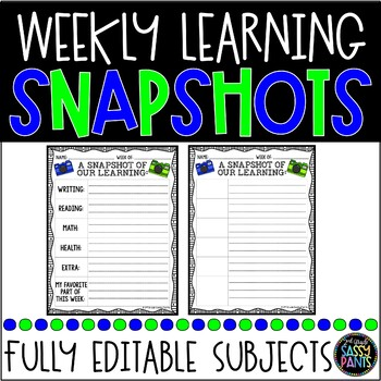 {EDITABLE}Weekly Learning Snapshots-Home Communication Forms