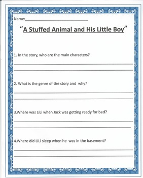 """""""A Stuffed Animal and His Little Boy"""" worksheets"""