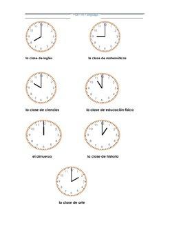 ¿A qué hora tiene la clase de....? Time Activity