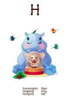 ♥ ABC  letter H. Classroom Poster Alphabet - Animals. Engl