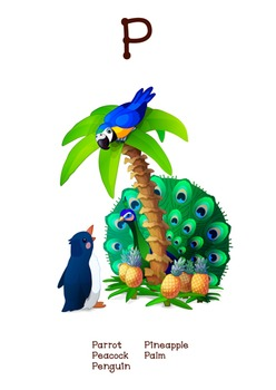 ♥ ABC  letter P. Classroom Poster Alphabet - Animals. Engl