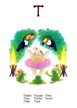 ♥ ABC  letter T. Classroom Poster Alphabet - Animals. Engl