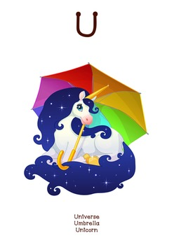 ♥ ABC  letter U. Classroom Poster Alphabet - Animals. Engl