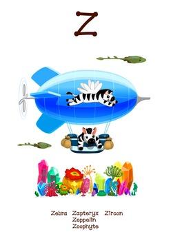 ♥ ABC  letter Z. Classroom Poster Alphabet - Animals. Engl