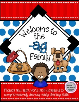 -AG WORD FAMILY PHONICS AND SIGHT WORD WORK EARLY LITERACY