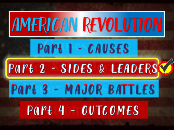 * AMERICAN REVOLUTION!!! PART 2 SIDES & LEADERS - VISUAL,
