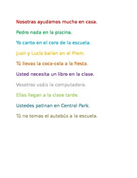 -AR VERBS REVIEW AND PRACTICE. SPANISH.