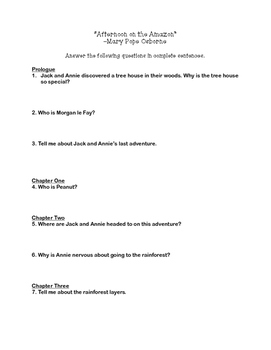 """""""Afternoon on the Amazon"""" Comprehension Questions"""