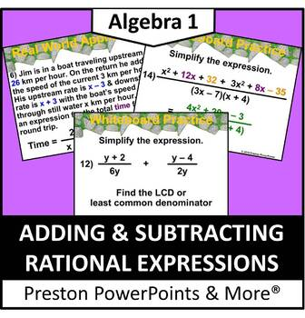 (Alg 1) Adding and Subtracting Rational Expressions in a P
