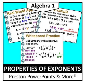(Alg 1) Properties of Exponents in a PowerPoint Presentation