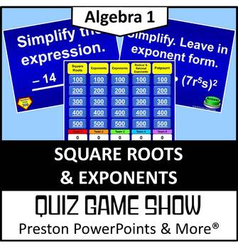 (Alg 1) Quiz Show Game Square Roots and Exponents in a Pow