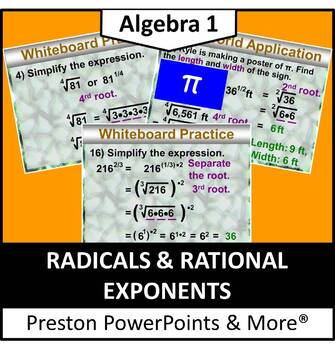 (Alg 1) Radicals and Rational Exponents in a PowerPoint Pr
