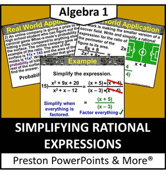 (Alg 1) Simplifying Rational Expressions in a PowerPoint P