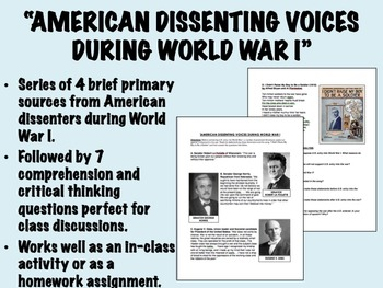 """""""American Dissenting Voices During World War I"""" - Global/W"""