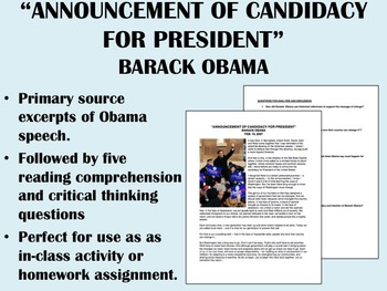 """Announcement for Candidacy"" - Barack Obama - US History/APUSH"