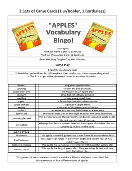 """Apples"" by Gail Gibbons VOCABULARY BINGO GAME"
