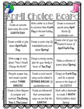 April Choice Board