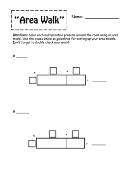 """""""Area Walk""""--Multiplication using Area Model -- CCRS and D"""