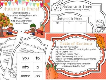 """""""Autumn is Here""""- Fall Poem with Worksheets and Lesson Plans"""