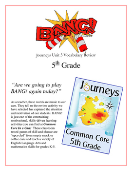 """BANG!"" 5th Grade Houghton Mifflin Journeys Unit 3 Vocabul"