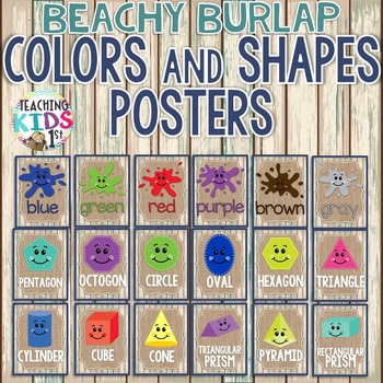{BEACHY BURLAP} Colors and Shapes Posters
