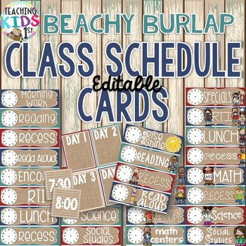 {BEACHY BURLAP} Editable Schedule Cards