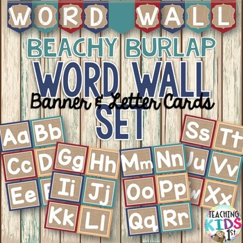 {BEACHY BURLAP} Word Wall Set