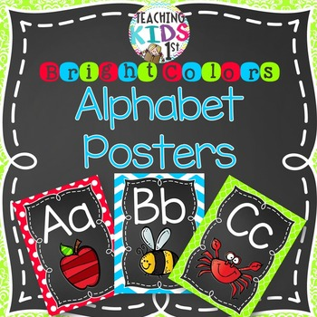 {BRIGHT COLORS} Alphabet Posters with pictures