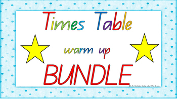 **** BUNDLE **** 1-12 Times Table Warm Up ACARA C2C Common