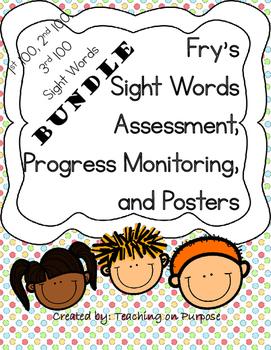 **BUNDLE** Fry's 1st, 2nd, & 3rd 100 Assessment, Progress