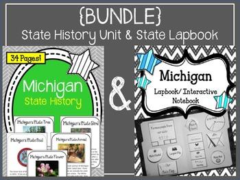 {BUNDLE} Michigan History Unit and State Lapbook. Interact