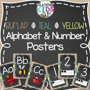 {BURLAP, TEAL, YELLOW, CHALKBOARD} Alphabet and Number Pos