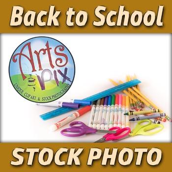 """! """"Back to School"""" - Stock Photo of School Supplies - Bott"""