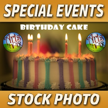"! ""Birthday Cake"" - Stock Photo - Cake with Candles - Photograph"