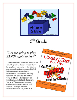 """Breakout!"" Affixes & Syllables 5th Grade Common Core Game Packet"