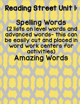 *Bundle* Reading Street 2008 First Grade Units 1-5 Spelling Words