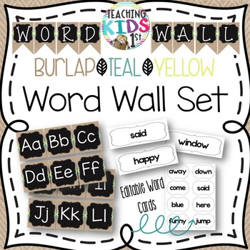 {Burlap, Teal, Yellow, Chalkboard} Word Wall Set with Edit