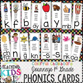 {COLORFUL CHALKBOARD} Journeys 1st Grade Phonics Cards