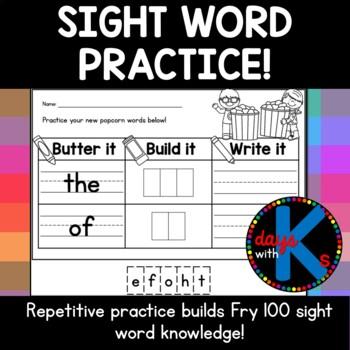 {CUTE} Fry words 1-25 popcorn (sight) word build-it and wr